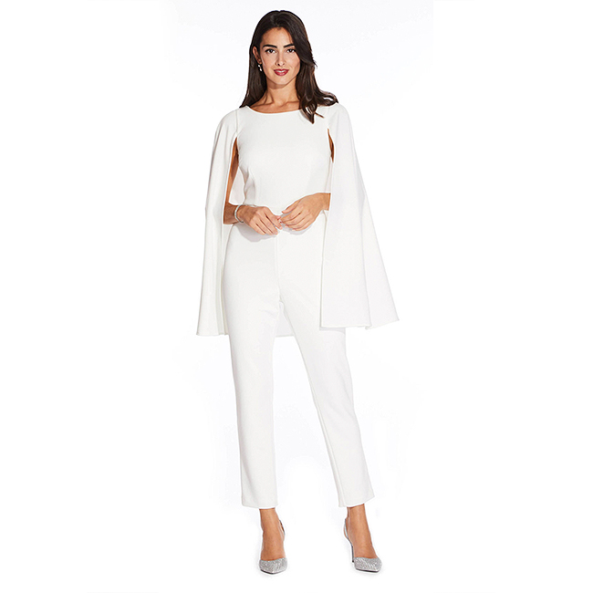 White, full-length, crepe jumpsuit with attached cape sleeves