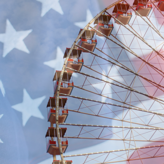 Ferrris Wheel With American Flag