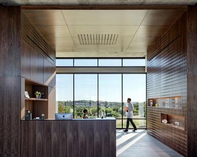 Matt Fajkus Architecture designed the reception area at the Westlake Dermatology Clinic in Marble Falls