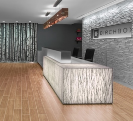 ASI Architectural Product's Fusión Wood Wall Panels Birchbox NYC Reception Area Design