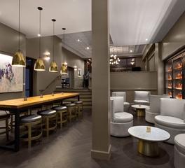 ASI Architectural Systems DeSoto Hotel Edgar's Proof & Provision Restaurant Custom Herringbone Hardwood Dark Engineered Oak