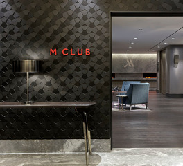 ASI Marriot M Club Lounge Entry Demential Wall Treatment Crossfuse® Wood Grain Laminate