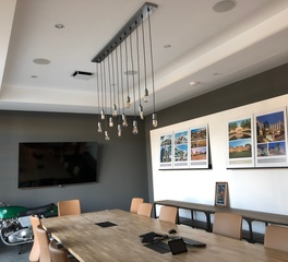 Barn Light Electric Kollin Altomare Architects Light Pendant Chandelier Galvanized Black Gold Cloth Cord Conference Room Lighting