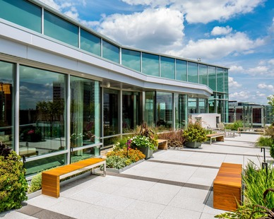 Benike Construction's Dan Abraham Healthy Living Center healthcare design project featuring the outdoor patio design