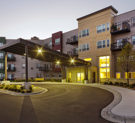 CBS Construction Services Inc. Woodland Hill Senior Living Construction Hudson Wisconsin Exterior Porte Cochere