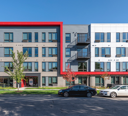 DJR Architecture JAX Apartments Red Exterior Trim Minneapolis Minnesota