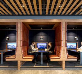 Edelman Leather Sypartners office Distressed DIS04 Pampas Custom Booth Design