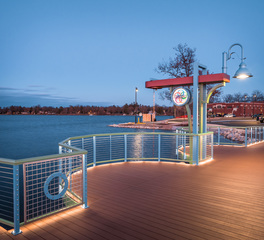 Feeney Inc Lake Fowler Oconomowoc Boardwalk LED DesignRail with CableRail Infill