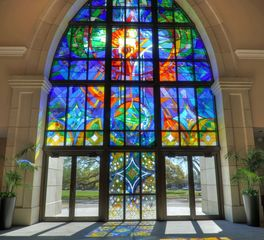 Gate Precast Worship Building St. George Catholic Church Baton Rouge Stained Glass Windows Design