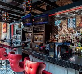 GlassArt Design Nye's Bar Custom Antique Mirror Bar Back