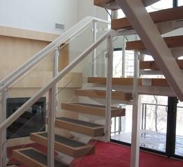 GlassArt Design Open Staircase Design Glass Panels