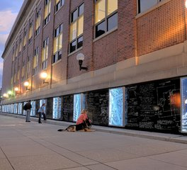 GlassArt UofM Etched and Backlit Glass Panel Exterior Donor Wall