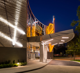 Houston First Baptist Downtown Ecosense exterior church awning lighting