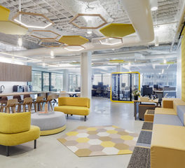 Meteor Lighting Duo 4 Honeycomb Asset Management Work Lounge Gathering Space