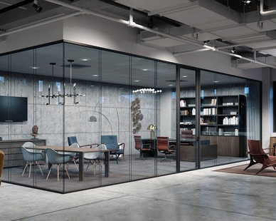 lama glass system by Modernus featured in a modern office space design