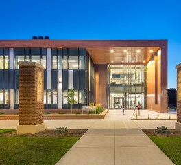 NWC Health Science CMBA Architects exterior entrance lighting