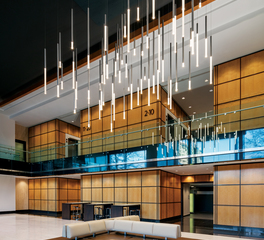 OCL Architectural Lighting One Buckhead Plaza Glowstick Cluster Lobby Atrium Design
