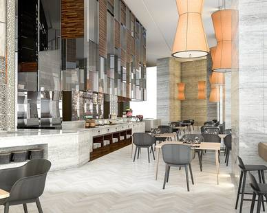 Pfuner Design created this open and warm environment in this open-kitchen restaurant design
