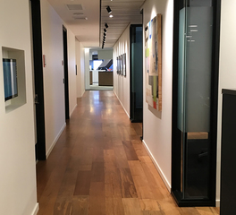 Pioneer Millworks Accounting Office Interior Reclaimed Teak Flooring 1