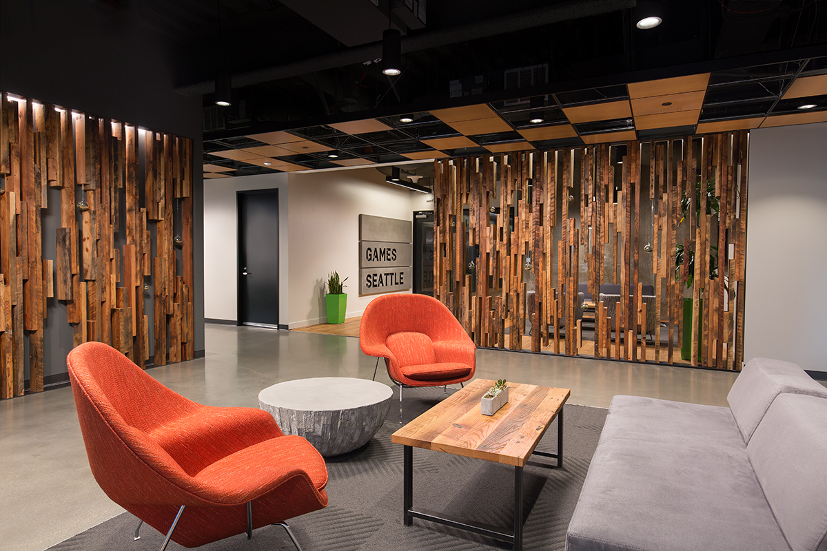 Pioneer Millworks Gaming Office Bellevue Interior Douglas Fir Slat Wall 1