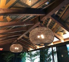 Pioneer Millworks Polynesian Restaurant Pod Hotel Interior Restaurant Douglas Fir Timbers