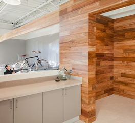 Reclaimed Teak Paneling at Crane Shed Commons