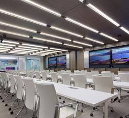 Soundply by navy island alta ceiling panels fumed eucalyptus leidos office training room design
