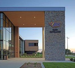 Stahl Construction Education Design Johnston High School Iowa Main Entrance Exterior Glass Window Facade