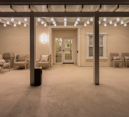 Tivoli lighting Belmont Senior Village patio