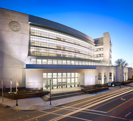 Vetter stone Maryland District Courthouse Rockville MD Architect Kishimoto Gordon Dalaya Rosslyn VA Silver Shadow Alabama Stone with machine smooth finish