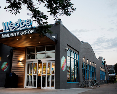 Exterior of Wedge Community Co-op designed by Emanuelson-Podas.