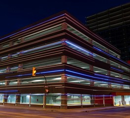 Wells Concrete Centrepoint Parkade Winnipeg Manitoba Parking Structure Exterior Lighting