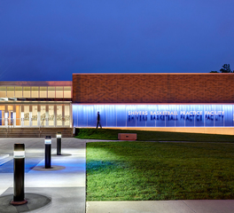 Wells Concrete Drake University Shivers Basketball Practice Facility Exterior Building and Walkway Lighting