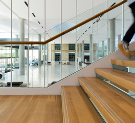 Woodwright Hardwood Floor Toyota Headquarters Office Lobby Design Stairway