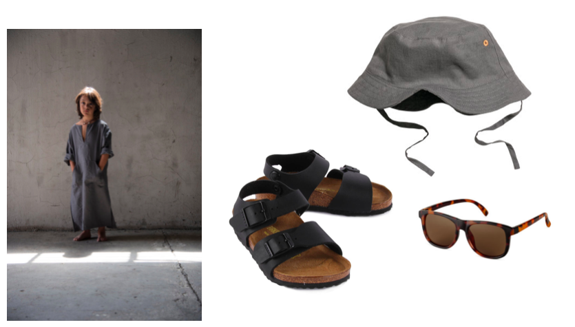 Travel with kids packing list - Kids Caftan, Sandals Birkenstock, Hat, Sunglasses