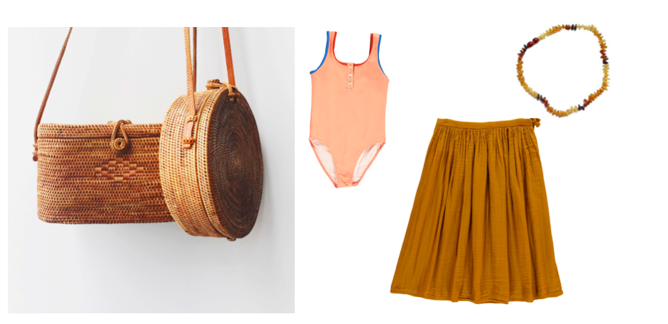 Travel with kids packing list - Bags, Bonton swimwear, Skirt Numero 74, Necklace Motherhood shop