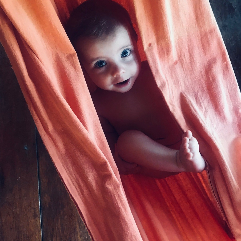 Cute Scandinavian Baby in Hammock