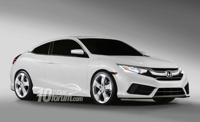 2016 Honda Civic Coupe, Hatchback and Sedan Rendered