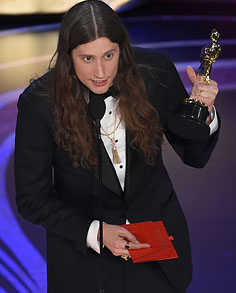 Ludwig Göransson accepting his first Oscar for Best Music (Original Score).