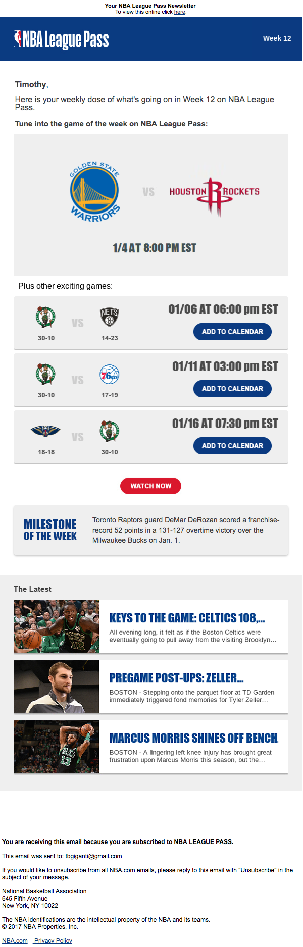 International League Pass - Weekly Email with Favorite Team