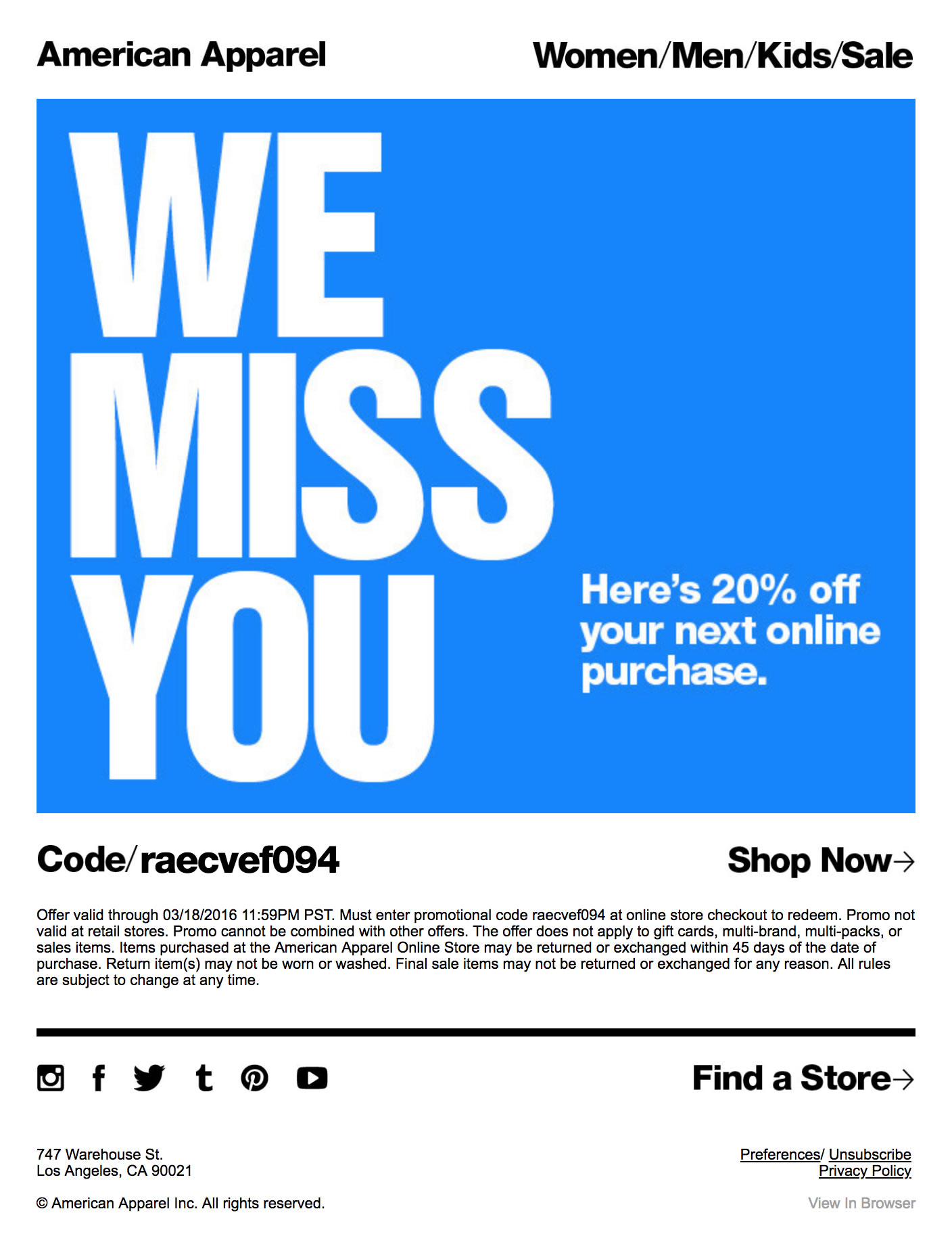 American Apparel Re-engagement