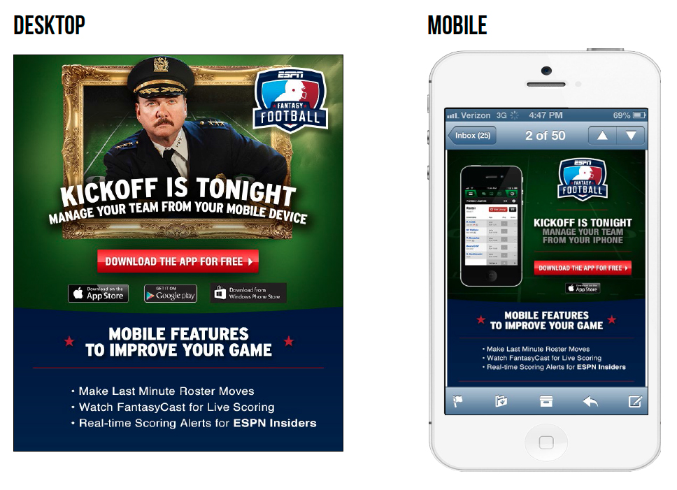 ESPN Fantasy Football Kickoff Email