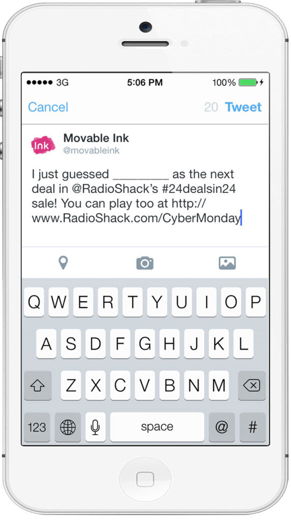 RadioShack deep linking pre-populated tweet