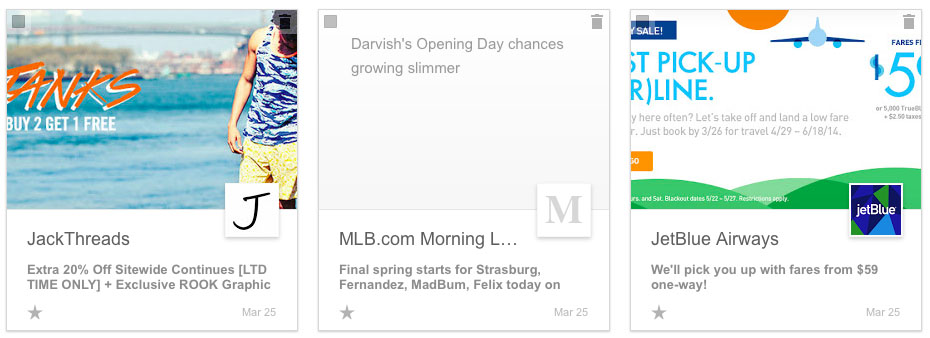 Gmail New Visual Promotions Tab Example
