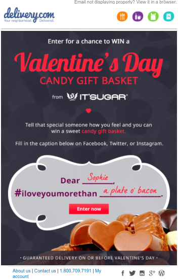 Delivery.com Valentine's Day Email