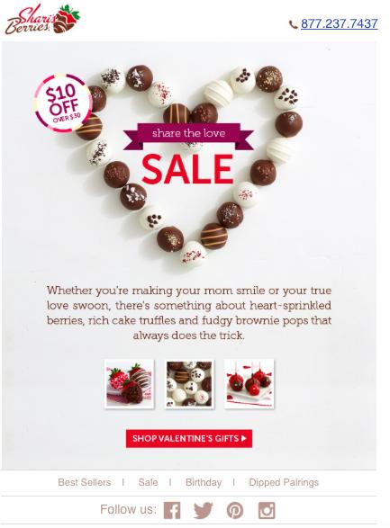 Sharis Berries Valentines Email