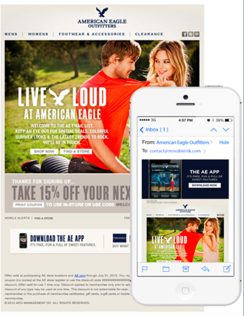 American Eagle's mobile optimized emails increased app downloads by 231%.