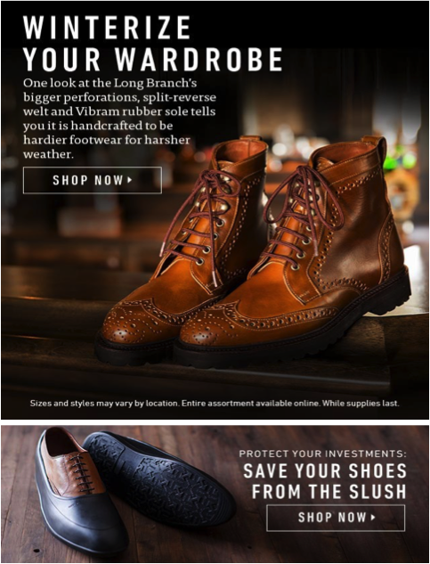 Weather-Targeted Email from Allen Edmonds