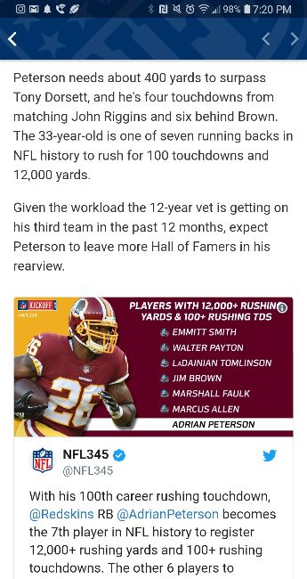 Adrian Peterson only needs 400 yards and 6 touchdowns this season to pass  Jim Brown for 4th all time in rushing yards and touchdowns this season. 352794e0c