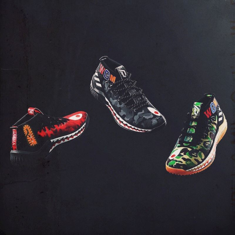 60a941e718aaa The 3 Bape colorways of the Dame 4s